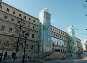 North-east facade of Queen Sofia Museum (MNCARS) in Madrid (Spain).